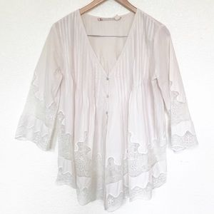 Chelsea & Violet anthro boho button lace top s s
